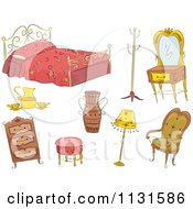 Cartoon Of Antique Furniture Royalty Free Vector Clipart by BNP Design Studio