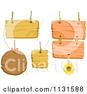 Cartoon Of Wood Signs With Rope Strings Royalty Free Vector Clipart
