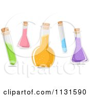 Cartoon Of Test Tubes And Bottles With Chemicals Royalty Free Vector Clipart
