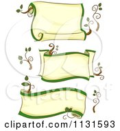 Cartoon Of Ecology Scroll Banenrs Royalty Free Vector Clipart