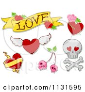 Cartoon Of Love Tattoo Designs Royalty Free Vector Clipart