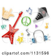 Cartoon Of Rock And Roll Design Elements Royalty Free Vector Clipart