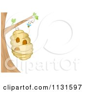 Cartoon Of A Bee Hive Frame With Copyspace 1 Royalty Free Vector Clipart by BNP Design Studio