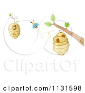 Cartoon Of A Bee Hive Frame With Copyspace 2 Royalty Free Vector Clipart by BNP Design Studio