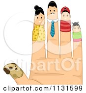 Cartoon Of A Hand With A Dog And Family Finger Puppets Royalty Free Vector Clipart