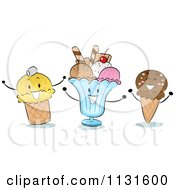 Cartoon Of Happy Ice Cream Cones And Sundae Royalty Free Vector Clipart