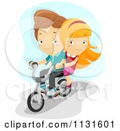 Cartoon Of A Boy And Girl Riding A Bike Together Royalty Free Vector Clipart