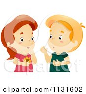 Cartoon Of A Boy And Girl Gossiping Royalty Free Vector Clipart