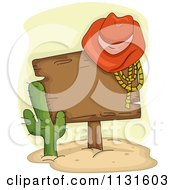 Cartoon Of A Cowboy Hat And Rope On A Wood Sign By A Cactus Royalty Free Vector Clipart by BNP Design Studio
