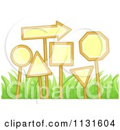 Cartoon Of Signs And Grass Royalty Free Vector Clipart