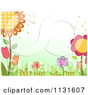 Cartoon Of A Spring Time Background With Flowers And Grass Royalty Free Vector Clipart