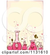 Cartoon Of A Love Spell Potion Bottles And Hearts Background Royalty Free Vector Clipart by BNP Design Studio