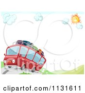 Cartoon Of A Red Travel Bus With Luggage On A Hilly Road With Copyspace Royalty Free Vector Clipart