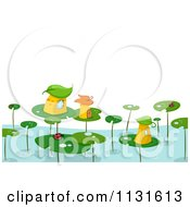 Cartoon Of A Lily Pad Village Royalty Free Vector Clipart by BNP Design Studio