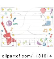Cartoon Of A Ruled Paper And Music Doodle Background Royalty Free Vector Clipart
