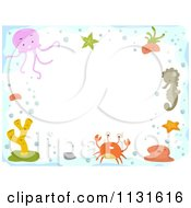 Cartoon Of A Border Of Sea Creatures And Copyspace Royalty Free Vector Clipart by BNP Design Studio