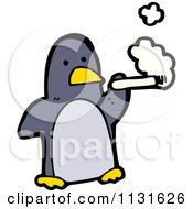 Cartoon Of A Smoking Penguin Royalty Free Vector Clipart