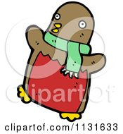 Cartoon Of A Brown And Red Penguin Wearing A Scarf Royalty Free Vector Clipart by lineartestpilot
