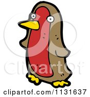 Cartoon Of A Brown And Red Penguin Royalty Free Vector Clipart by lineartestpilot