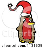 Cartoon Of A Brown And Red Penguin In A Santa Hat Royalty Free Vector Clipart by lineartestpilot