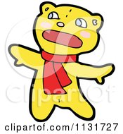 Cartoon Of A Bear In A Scarf 2 Royalty Free Vector Clipart