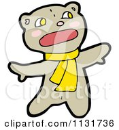 Cartoon Of A Bear In A Scarf 1 Royalty Free Vector Clipart