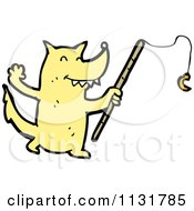 Cartoon Of A Fishing Yellow Royalty Free Vector Clipart by lineartestpilot