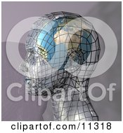 Futuristic Human Head In Profile With A Globe Inside The Brain Clipart Illustration