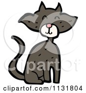 Cartoon Of A Black Kitty Cat 1 Royalty Free Vector Clipart by lineartestpilot