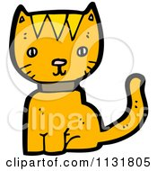 Cartoon Of A Ginger Cat Sitting Royalty Free Vector Clipart by lineartestpilot