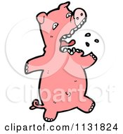 Cartoon Of A Pink Piggy 3 Royalty Free Vector Clipart by lineartestpilot