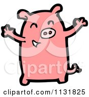 Cartoon Of A Pink Piggy 2 Royalty Free Vector Clipart by lineartestpilot