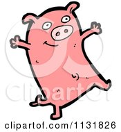 Cartoon Of A Pink Piggy 1 Royalty Free Vector Clipart by lineartestpilot