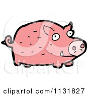 Cartoon Of A Pink Farm Pig 2 Royalty Free Vector Clipart by lineartestpilot