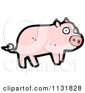 Cartoon Of A Pink Pig Royalty Free Vector Clipart by lineartestpilot