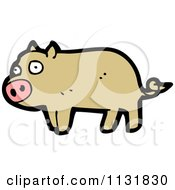 Cartoon Of A Brown Pig Royalty Free Vector Clipart by lineartestpilot