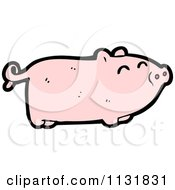 Cartoon Of A Pink Piggy Royalty Free Vector Clipart by lineartestpilot