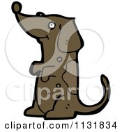 Cartoon Of A Begging Brown Pooch Dog Royalty Free Vector Clipart by lineartestpilot