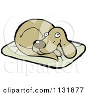 Cartoon Of A Dog Resting On A Pillow 1 Royalty Free Vector Clipart