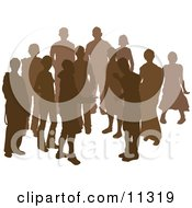 Group Of Silhouetted People Clipart Illustration