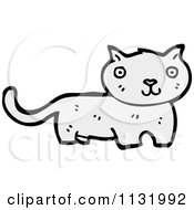 Cartoon Of A White Kitty Cat Royalty Free Vector Clipart by lineartestpilot