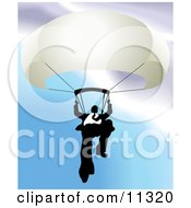 Businessman Holding On To A Parachute Clipart Illustration