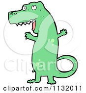 Cartoon Of A Green Tyrannosaurus Rex 2 Royalty Free Vector Clipart