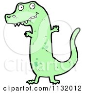 Cartoon Of A Green Tyrannosaurus Rex 3 Royalty Free Vector Clipart