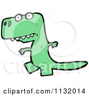Cartoon Of A Green Tyrannosaurus Rex 1 Royalty Free Vector Clipart