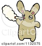 Cartoon Of A Brown Bunny Smoking Royalty Free Vector Clipart