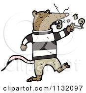 Cartoon Of A Brown Rat Smoking Royalty Free Vector Clipart