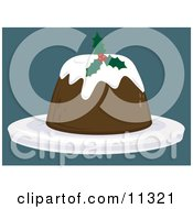 Holly Garnished Christmas Pudding Dessert