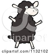 Cartoon Of A Black Sheep 2 Royalty Free Vector Clipart by lineartestpilot