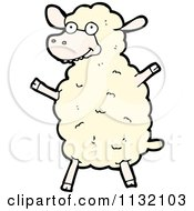 Cartoon Of A White Sheep 2 Royalty Free Vector Clipart by lineartestpilot